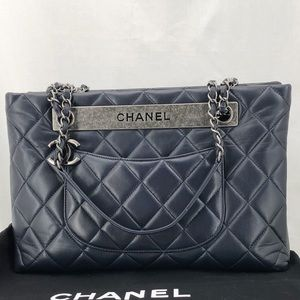 CHANEL Navy Blue Quilted Shopping Tote